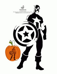Captain America Avengers Pumpkin Stencil