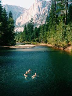 Swimming at Yosemite.