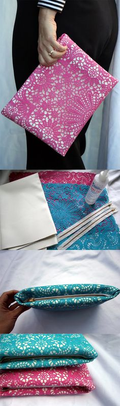 Interesting Craft Ideas With Lace. Lace clutch diy. Create your own lace clutch