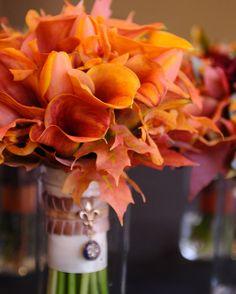 Orange Calla Lilies and Fall Leaves