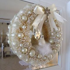 ivory, Christmas wreath, shabby chic, bird