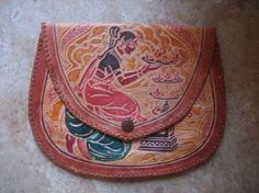 Tooled and painted Leather purse
