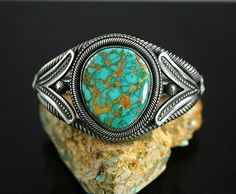 High Grade Aztec Spiderweb Turquoise Ingot Bracelet