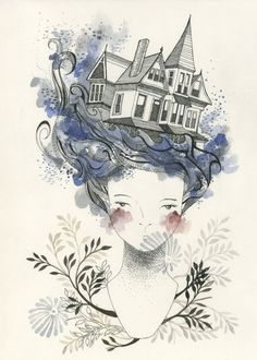 House by the Sea by Catherine Campbell (myfolklover on Etsy).  #portrait #sea #house #ink #watercolor
