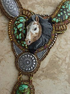 Horse Necklace in Porcelain and Turquoise by HeidiKummliDesigns