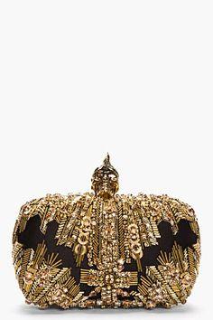 ALEXANDER MCQUEEN alexander mcqueen, fashion, mcqueen gold, lace punk, gold lace, box clutch, punk skull, alexand mcqueen, skull glori