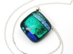 Collana vetro dicroico ~ Dichroic glass necklace - di Blackpoppy via it.dawanda.com