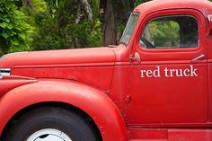 Red vintage pickup trucks.