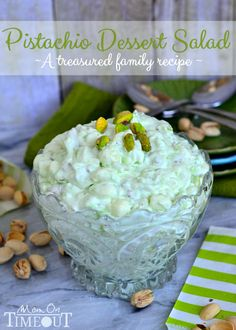 Pistachio Dessert Salad or Pistachio Fluff - whatever you choose to call it - it's delicious! | MomOnTimeout.com = Green Jello!