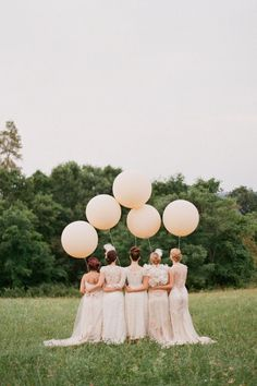 bride maids, weddings, wedding balloons, bridesmaid, wedding photos, beauty, bridal parties, blush, lace dresses