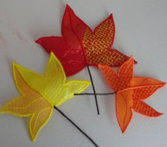Pam's Embroidered Mylar Leaves 16-18