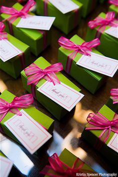 Lime green & hot pink wedding favor boxes  Green + Pink Wedding #Wedding #Planning ideas https://itunes.apple.com/us/app/the-gold-wedding-planner/id498112599?ls=1=8 tips on how to keep your costs down ♥ #pale #pastel #pink #green #wedding #bride #bouquet #corsages #boutonnieres #ceremony #cake #reception ♥ More pink wedding ideas http://pinterest.com/groomsandbrides/pastel-pink-wedding/
