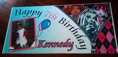 """Custom """"Monster High"""" Birthday Party Banner designed for one of our customers. www.bannergrams.com"""