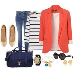 Love the coral and navy combo