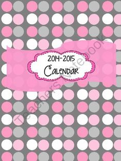 2014-2015 school year calendar from CK Designs on TeachersNotebook.com -  (14 pages)  - Cute calendar to record all your important dates for the new school year.