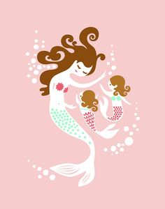 twin, mothers day, mermaid mother, art, daughter, baby girls, babi, gicle print, prints