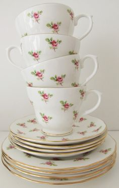 Vintage Duchess Rosebud bone china tea cups, saucers and side plates