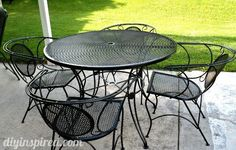 Repainting metal patio furniture via blog: 1)use wire brush/sandpaper to get off loose paint/rust, 2)wash/wipe down and dry, 3)prime, 4)paint with spray paint designed for metal. Blog suggests Rust-oleum paint throughout. patio tabl, diy paint outdoor metal chairs, repaint metal patio furniture, how to paint patio chairs, metal chairs painted, painted metal patio furniture, repainting metal chairs, painting metal patio furniture, how to paint metal chairs