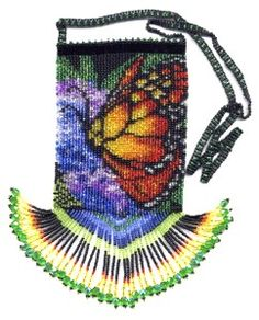 bead bag, monarch butterfli, butterfli bag, bead purs, amulet bag pattern, craft idea, beaded bags, butterfli bead, bag patterns