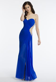 Camille La Vie Chiffon Prom Dress with Chandelier Cutout