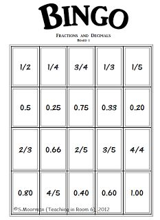 fractions, decimals, percents bingo