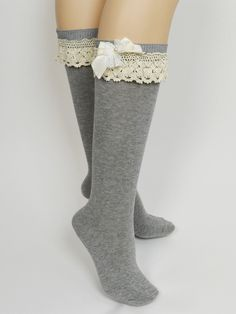 Leg Warmers with ribbon bows and lace - legwarmers boot socks.