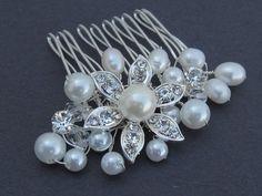 Bridal rhinestone pearl hair comb,wedding hair accessories, bridal hair comb crystal and pearl, wedding comb,bridal, wedding hair comb pearl. $35.00, via Etsy.