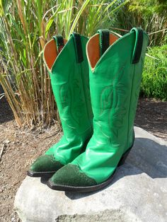 Vintage Cowboy Boots Cowgirl Boots Green Leather / by KathiJanes, $125.00