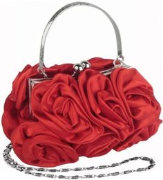 Enormous Rosette Roses Framed Clasp Evening Handbag Clutch Purse Convertible Bag w/Hidden Handle, Shoulder Chain $39.99
