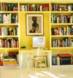 Built-in shelving with desk.  #office #desk #shelving #storage #bookshelf #organization
