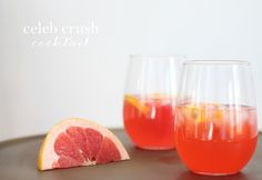 This cocktail was designed for a Super Bowl {or not-so-Super-Bowl} party. Named the celeb crush, this grapefruit drink recipe is a great year round staple!