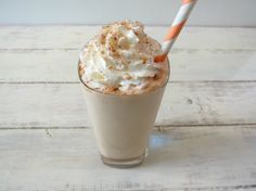 Cinnamon Dolce Frappe - A frozen coffee drink blended with milk and cinnamon and topped with whip cream and sugar and cinnamon.