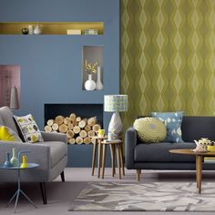 Blue and yellow living room   Living room colours