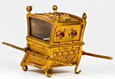 Antique French Ormolu Ring Box, Casket, Jeweled Sedan Chair Miniature
