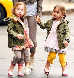 Fashionistas Tabitha and Loretta in cool cargo jackets paired with frilly dresses over pants photo by people magazine.