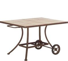 Universal Tile Top Serving Cart With Cast Marble Tile Top