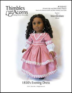 """1850s Evening Dress 18"""" Doll Clothes"""