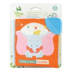 The Disney Baby Dumbo Soft Book features Dumbo, a peek-a-boo mirror, satin tags, a teether, a squeaker, and crinkly flaps.