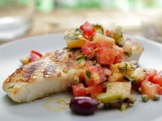 Basil Rubbed Halibut with Puttanesca Relish Recipe : Bobby Flay : Food Network - FoodNetwork.com