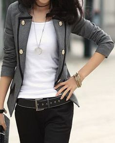Grey Contrast Trims Double Pockets Long Sleeve Suit US$46.40