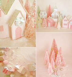 Love this vintage looking pink Christmas Village.