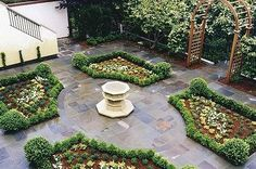 Love this four square planting design. The little boxwood rounds are too cute! By Jay Thayer Landscape Architect in San Francisco. See other ideas for a lawn-free garden here: http://www.landscapingnetwork.com/lawns/alternatives.html
