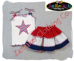 4th of July Girl Skirt Outfit Set  Patriotic by ZamakerrClothingCo, $46.00
