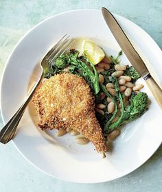 Panko-Crusted Pork Chops with Roasted Broccoli Rabe recipe