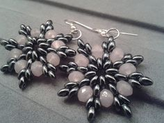 Snowflake earrings Superduo Twin earrings