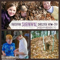 How to make a fun outdoor survival shelter out of leaves and debris, and share an important survival skill with your kids without them even ...