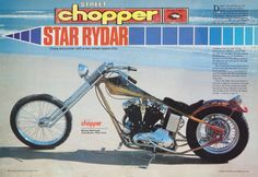 Star Rydar- Custom built in 1979 by Barney. Placed 3rd in the Rat's hole Competition in Daytona Beach. Isaac Hayes' Bike placed 1st. & 2nd.