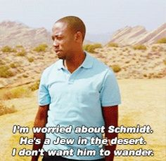 Wintson on Schmidt in the desert - New Girl