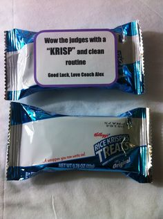 "Good luck cheerleading competition gift. ""Wow the judges with a clean and KRISP routine"" Rice Krispy treats."