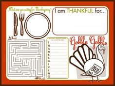 Free activity printable placemat